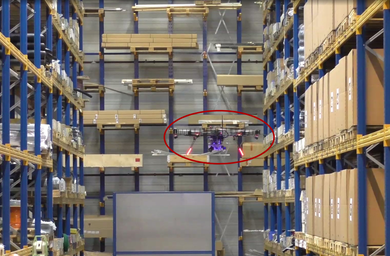 InventAIRy copter in Panopa warehouse